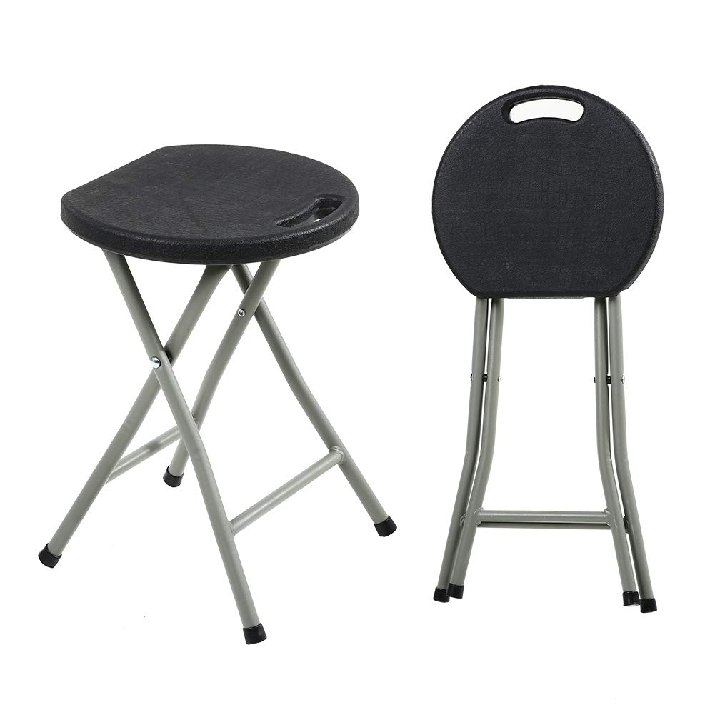 KKTONER Portable Metal and Plastic Folding Stool Light Weight Outside Chair Set of 2 Black by KKTONER