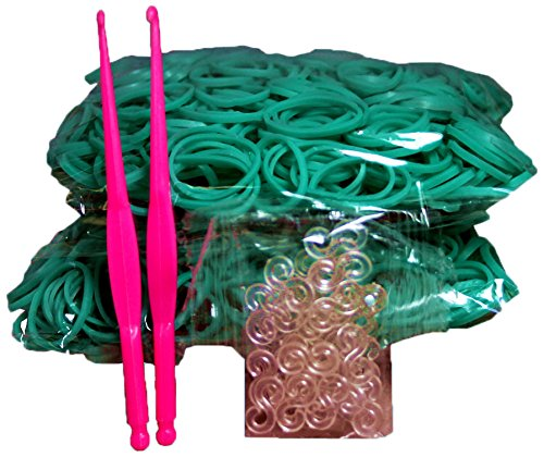 Bluedot Trading 1200 piece teal rubber band pack -Piece Do-It-Yourself Bracelet Kit Refill Pack, Includes Rubber Band and S-Clips for Loom Art/Kids Craft with Rainbow, Teal by Bluedot Trading