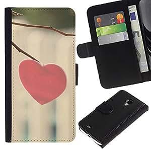 Planetar® Modelo colorido cuero carpeta tirón caso cubierta piel Holster Funda protección Para Samsung Galaxy S4 Mini i9190 / i9195 (Not For S4) ( Love Minimalist Heart )