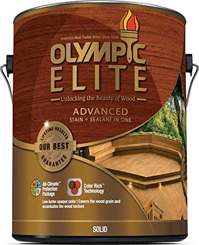 Olympic Elite Advanced Solid Color Stain and Sealant in One Advanced 1-Gallons 80301 White Base 1 ()