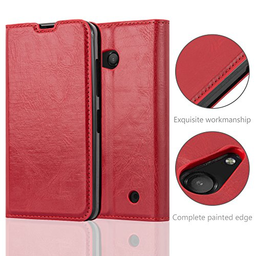 Cadorabo Case works with Nokia Lumia 550 Book Case in APPLE RED (Design INVISIBLE CLOSURE) – with Magnetic Closure, Stand Function and Card Slot – Wallet Case Etui Cover PU Leather by Cadorabo (Image #4)