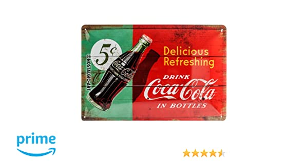 Nostalgic-Art Coca Cola Delicious Refreshing Green Placa Decorativa, Metal, Rojo y Verde, 20 x 30 cm