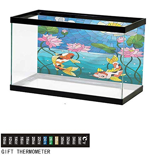 bybyhome Fish Tank Backdrop Koi Fish,Stained Glass Lotus Flower,Aquarium Background,24