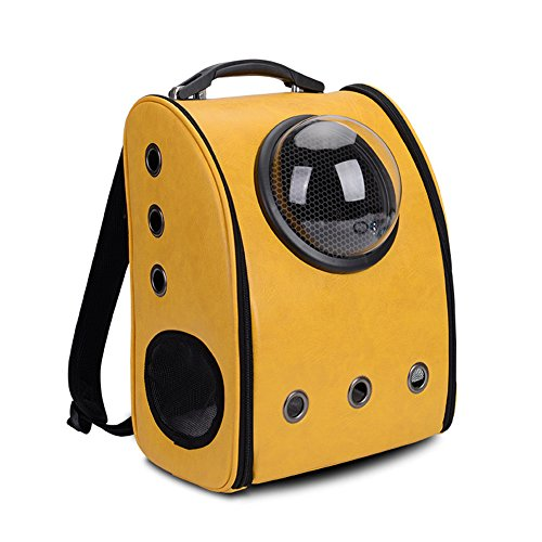 Cat Astronaut Backpack Puppy Carrier Space Capsule Travel Bubble Bag Cats Dogs  Yellow  Backpack