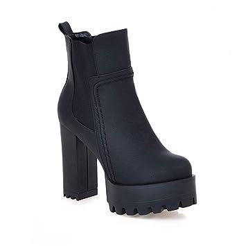 Botines Gruesos, Plataforma Impermeable Botas Cortas De Tacón Alto Zapatos De PU De Gran TamañO