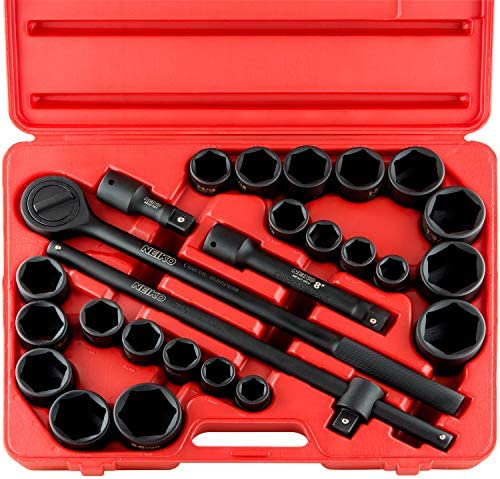 """Neiko 02499A 3/4"""" Drive Jumbo Master Impact Socket Set, 27 Piece Shallow Socket Assortment 
