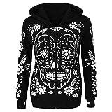 Roselv Fashion Cool Streetwear Skull Print Zipper Hooded Pullover Plus Size,Women Casual Hoodies Sweatshirt Warm Coat Outwear Black XXL