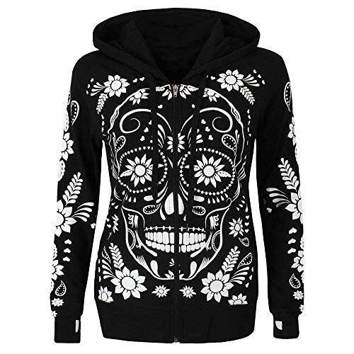 - Mlide Rose Eye Sugar Skulls - Day of The Dead Gothic Women's Plus Size Hoodie Sweatshirt (Black,XX-Large)