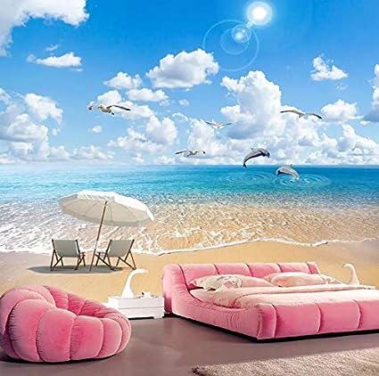 Carta Da Parati Con Sfondo Mare.Carta Da Parati Della Foto 3d Spiaggia Di Sabbia Paesaggio Marino