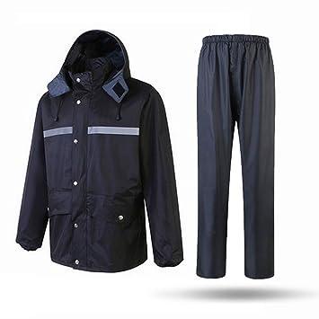 Ropa reflectante Chaqueta y pantalón impermeables para la lluvia, traje de poncho con capucha y