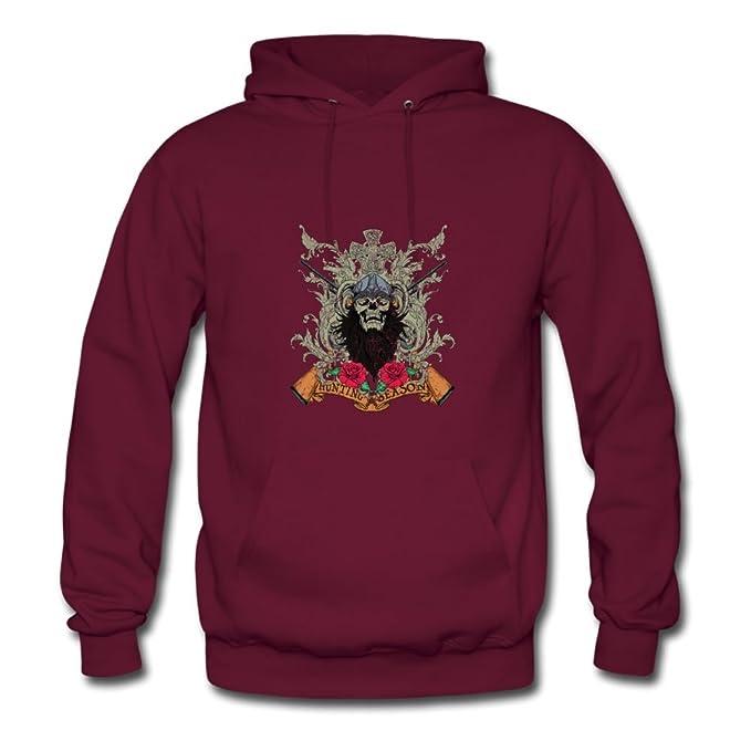 Camisetas de caza Calavera T-shirts designs Diseñado y Let You Mango it personalizada Hombres Sudadera con Capucha Rojo granate: Amazon.es: Ropa y ...