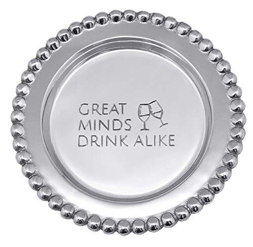 MARIPOSA Minds Drink Alike Beaded Wine Plate, Silver ()