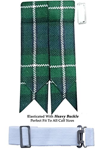 (New Solid Plain Black, Royal Stewart Tartan Many More Kilt Flashes Multi Colors (Forbes Modren))