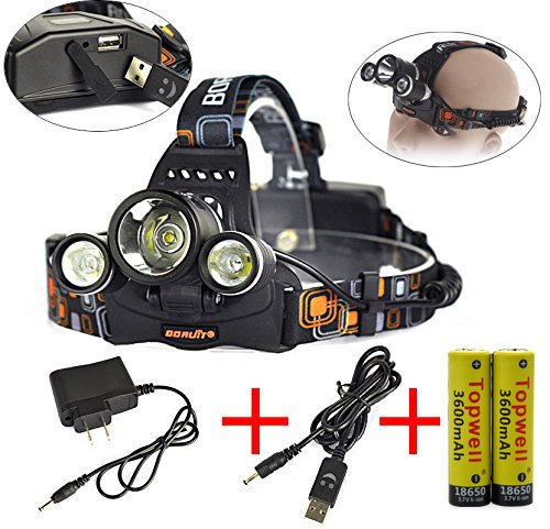 Topwell 5000 Lumen 3x CREE 3×L2 XM-L 4 Modes Rechargeable Led USB Headlamps Power bank powered Head Lamps LED Head light Bicycle Light with AC Charger 2pcs 3.7V 18650 3600 Mah Rechargeable Batteries and USB Cable (Flat head)