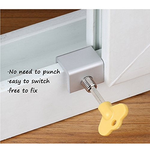 Window Locks-Sliding Window-Sliding Window Lock-Window Stop-Adjustable Sliding Window Locks Stop Door Frame Security Locks with Keys【8 Pieces】 by LFM (Image #4)