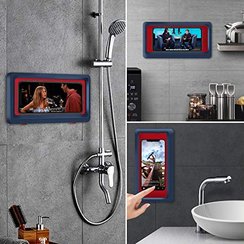 Bathroom Waterproof Phone Holder, Wall Mount Shower Case Mount Shelf, Waterproof Anti-Fog Touch Mobile Holder, Punch-Free, for Shower, Kitchen, Compatible with Mobile Phones Under 6.8 Inches (Black)