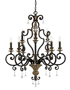 Quoizel MQ5009HL Marquette 9-Light Chandelier with Multifaceted Crystal Drops, Heirloom