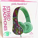 Peacock Feathers Pink Chandelier Foldable Headphones Lightweight Powerful Sound, Excellent Quality & Loud Bass- For Use With iPhone, Android, Gaming, Tv, Mac, Pc, Mp3-3.5mm Aux Stereo Headphones