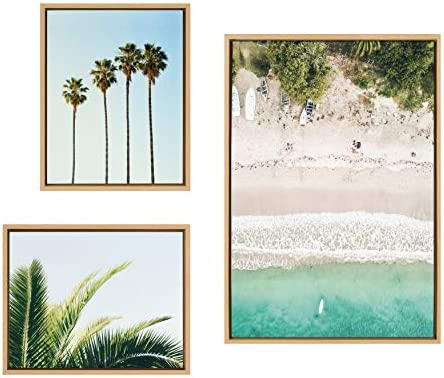 Kate and Laurel Sylvie Tropical Beach Framed Canvas Wall Art Collection