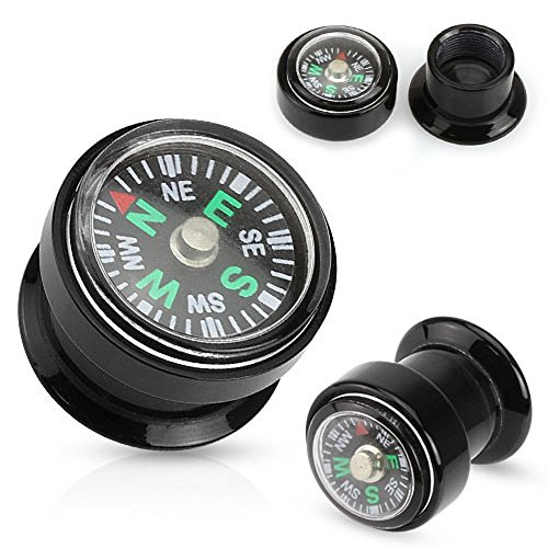 Real Compass Inlayed Black Acrylic Screw Fit Plug - Sold as a pair 0g