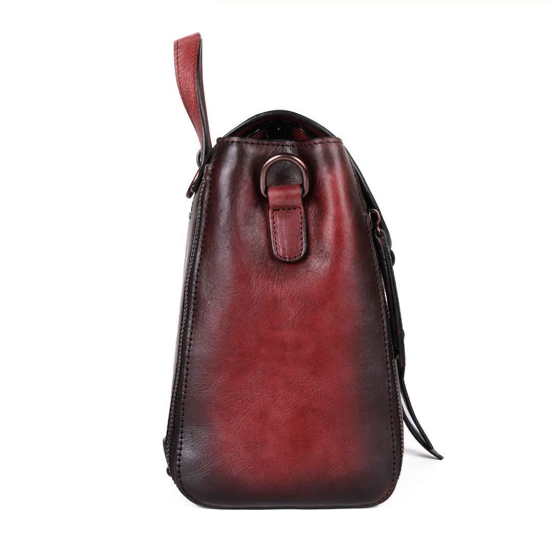 shengweiao kvinnors retro läder mode ryggsäck Svart lila