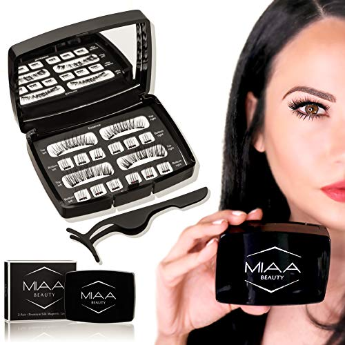 Full Eye Natural & Bold [ 2 Sets Triple Piece Magnetic Eyelashes] 100% Premium Hand Made Silk False Lashes with Free Applicator & Mirror Case - Glue Free Non-Allergic Reusable ()