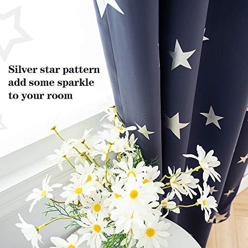 Anjee Eyelet Blackout Vorhänge Silver Stars Wärmeisolierte Vorhänge 2 Paneele 117 x 183 cm für Kinderzimmer/Kinderzimmer Erstellen Sie EIN Raum-Raum für Kinder in Marineblau