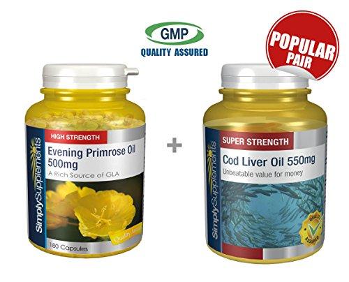 Evening Cod Primrose Liver Oil (SimplySupplements Evening Primrose Oil 500mg 360 Capsules + Cod Liver Oil 550mg 360 Capsules)