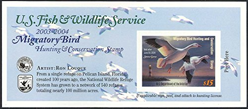 2003 $15 Snow Geese Federal Duck Stamp Self Adhesive Pane Scott RW70A By USPS