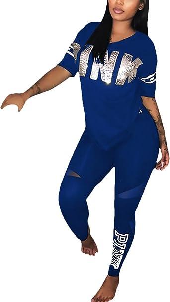 Chandal Mujer T Shirt+Pantalones Dos Piezas Casual Tallas ...
