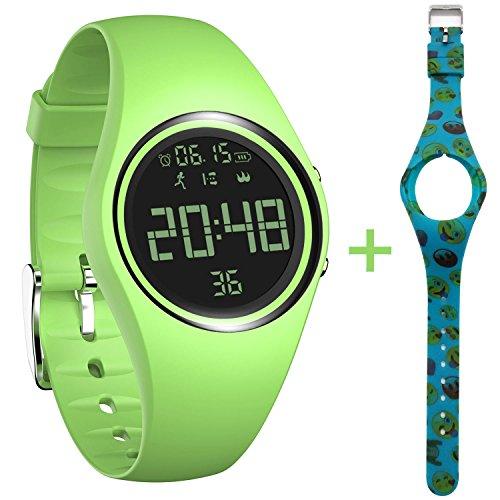 feifuns Fitness Tracker Smart Watch Non-Bluetooth Pedometer Bracelet Smart Sport Bracelet with Timer Step Calories Counter Distance Time/Date Vibration Alarm for Walking Kids Women Men (Green+Band)