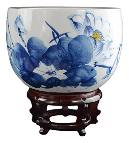 Porcelain Vase Fish (Porcelain Blue and White Fishbowl , Hand-painted Lotus Fish Bowl)