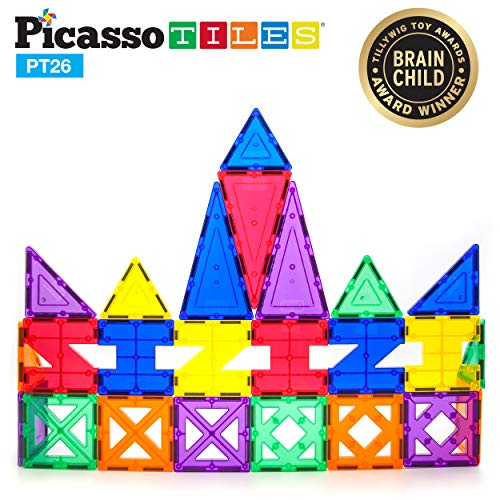 PicassoTiles PT26 26 Piece, Clear, Yellow, Red, Purple, Orange, Blue,
