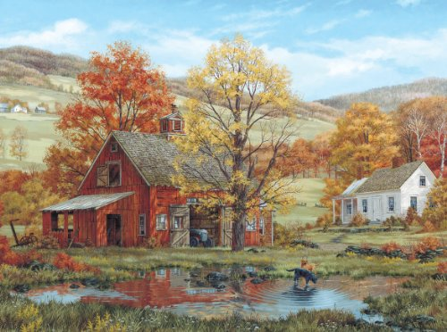 White Mountain Puzzles Friends in Autumn - 1000 Piece Jigsaw Puzzle (Page Autumn Borders)