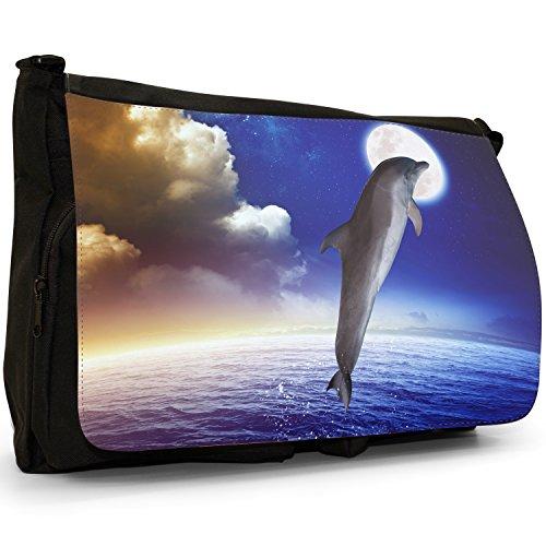 Canvas School Full Dolphins Jumping Bag Large Laptop Shoulder Black Messenger Moon At Dolphin SPrRtP
