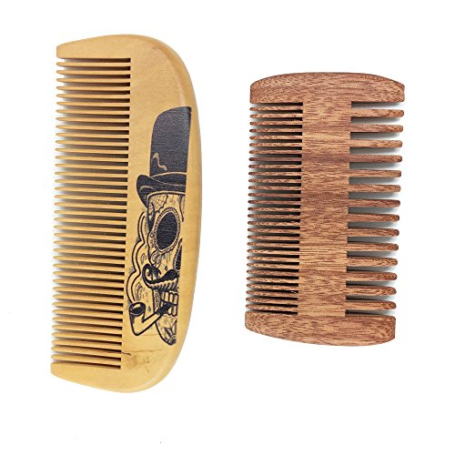 Handmade and Premium Bidirectional Wooden Beard Brush Comb- Best Quality Pocket Size - For Uniform Beard and Mustache Growth and Eliminates Tangles, Design with Beard Sugar Skull with Beard Smoking