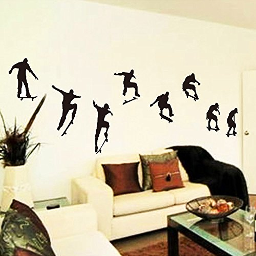 GigaMax(TM)Skateboard Sports Cool Life Simple Black DIY Wall Sticke Stickers Wallpaper Art Mural Room Decor Home Decoration (Wallpaper Halloween Iphone)