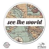See The World Travel Retro Globe Map - Vinyl Sticker Waterproof Decal