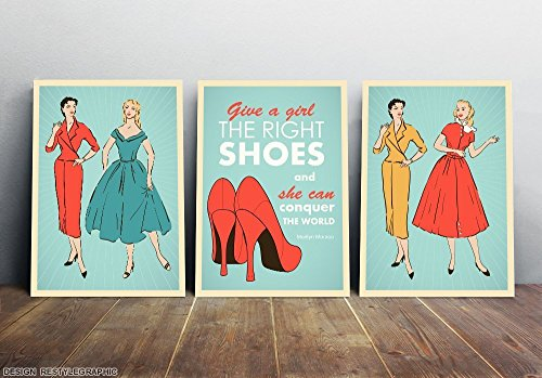 10% Off for Pin up girls illustration set from three, Give a