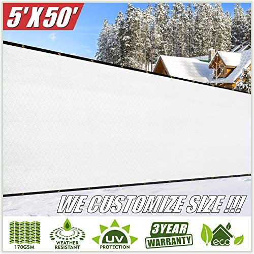 ColourTree 5' x 50' White Fence Privacy Screen Windscreen, Commercial Grade 170 GSM Heavy Duty, We Make Custom Size