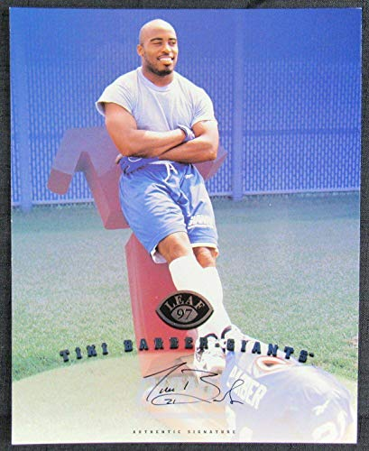Autographed Tiki Barber Photograph - 1997 Leaf 8x10 - Autographed NFL Photos