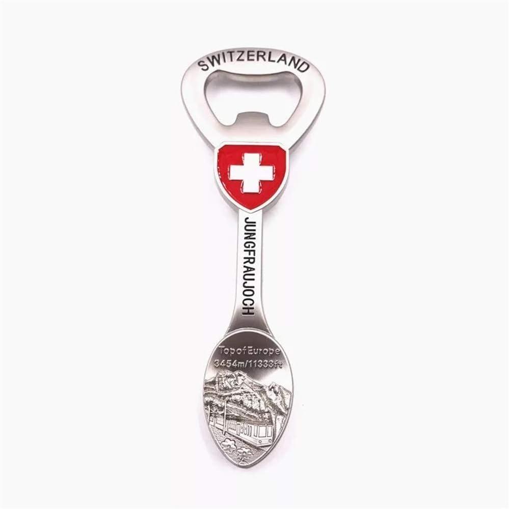 Fridge Magnet Bottle Opener Jungfraujoch Switzerland 3D Resin Handmade Craft Tourist Travel City Souvenir Collection Letter Refrigerator Sticker