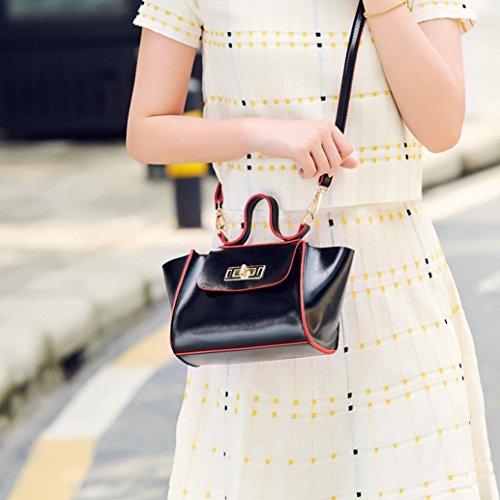 Main main Mode bandoulière à sac serrure bandoulière cuir à couleur Noir femmes Vintage mode tour hit sac JIANGfu Sac de Femme Sac Femme messager Cabas qwIqpgUAv