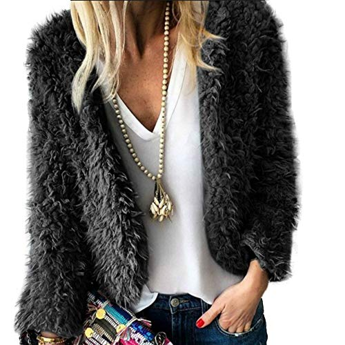 Zyyfly Women Fall Fuzzy Open Front Cardigan Sweater Faux Fur Coat Black ()