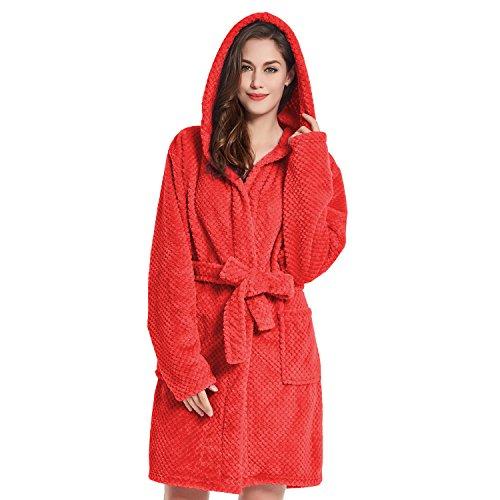 Femme Homme Rouge Douillette Robe À Chambre Decoking Polaire fibre Cappuccino Sleepyhead Micro Capuchon Peignoir Unisexe Court Moelleuse S De UIxqqtw8O