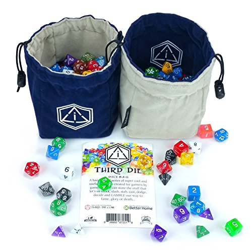 Third Die Dice Bag - Handcrafted, Reversible Drawstring Dice Bag That Stands Open On The Table And Closes Tight - Company Logo Series - Navy and Gray (Reversible Bag Drawstring)