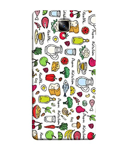 Fuson Foods and Fruits Eatables Unique Thought Crazy Healthy Print Designer Back Cover for OnePlus 3, One Plus 3