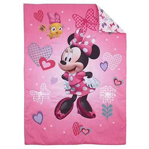 Disney Minnie Hearts & Bows 4-Piece Toddler Set,fits, Standard Toddler Mattress (52 x 28 x 8) Crown Crafts Infant Products Inc. 6089416