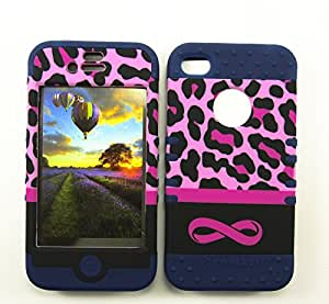 SHOCKPROOF HYBRID CELL PHONE COVER PROTECTOR FACEPLATE HARD CASE AND DARK BLUE SKIN WITH STYLUS PEN. KOOL KASE ROCKER FOR APPLE IPHONE 4 4S 4G INFINITY LEOPARD DB-TE665
