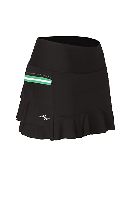 Naffta Tenis Padel - Falda-short para mujer, color negro/verde hierba,